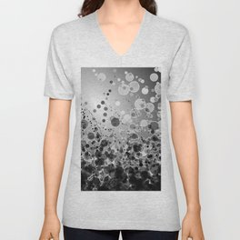 Black and White Spotted2-Grey Unisex V-Neck