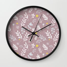 Floral Pattern 1 - PINK BACKGROUND Wall Clock