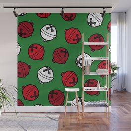 Jingle Bells Christmas Pattern in Red, White & Green Wall Mural