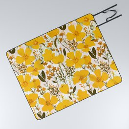 Yellow roaming wildflowers Picnic Blanket