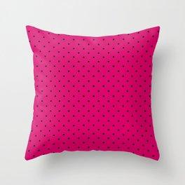 Medium Black on Dark Hot Pink Polka Dots Throw Pillow