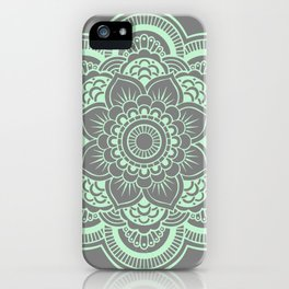 Mandala Flower Gray & Mint iPhone Case