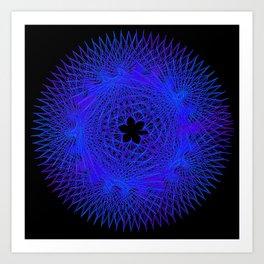 Blue Spirographic 2 Art Print