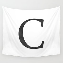 Letter C Initial Monogram Black and White Wall Tapestry