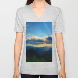Golden sunset in the Blue Ridge Unisex V-Neck