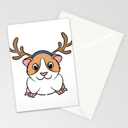 """Cute and adorable """"Guinea Pig Reindeer"""" tee design. Perfect gift this holiday to your friends too!  Stationery Cards"""