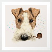 terrier Art Prints featuring fox terrier sailor by dogooder