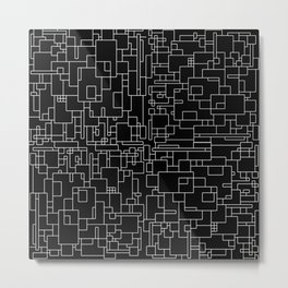 Circuitry - Abstract, geometric, black and white Metal Print