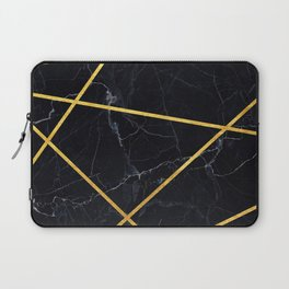 Black marble with gold lines Laptop Sleeve