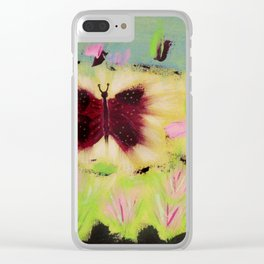 Butterfly Park: Abstract Acrylic Painting of animals Clear iPhone Case