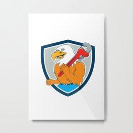 Bald Eagle Plumber Monkey Wrench Shield Cartoon Metal Print