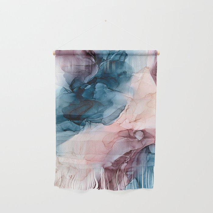 Pastel Plum, Deep Blue, Blush and Gold Abstract Painting Wall Hanging