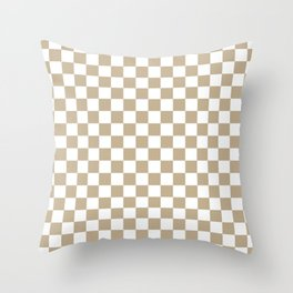 Small Checkered - White and Khaki Brown Throw Pillow
