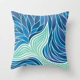 Green Mermaid's Tail Throw Pillow