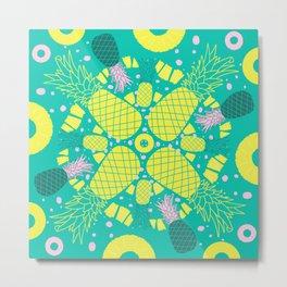 Pineapple Palooza Tropical Mandala Metal Print