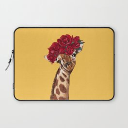 Giraffe with Rose Flower Crown in Yellow Laptop Sleeve