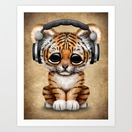 Cute Tiger Cub Dj Wearing Headphones Art Print