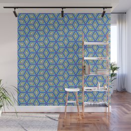 Blue and Gold Tilted Cubes Pattern Wall Mural