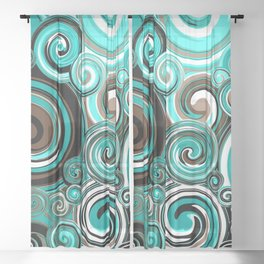Water Whirlwind Abstract Sheer Curtain