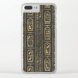 Egyptian hieroglyphs Gold on Leather Clear iPhone Case