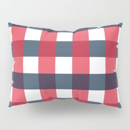 Red White and Blue Gingham Check Pattern Pillow Sham