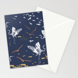 Flying Egrets With Blue Background Stationery Cards