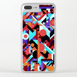 CRAZY CHAOS ABSTRACT GEOMETRIC SHAPES PATTERN (ORANGE RED WHITE BLACK BLUES) Clear iPhone Case