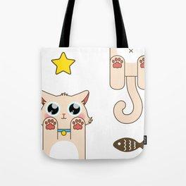 Cream Pastel Cat Tote Bag