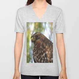 Young Red-Shouldered Hawk in a Desert Willow Unisex V-Neck