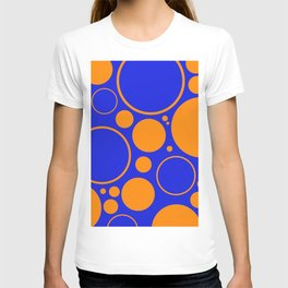 Bubbles And Rings In Orange And Blue T-shirt