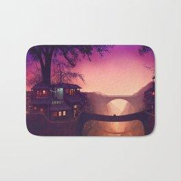 Romantic Couple On Bridge In Idyllic Little Town Above Valley Anime Purple Shade Ultra HD Bath Mat