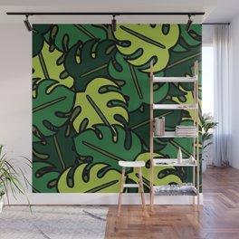 Monstera Leaf Pattern Wall Mural