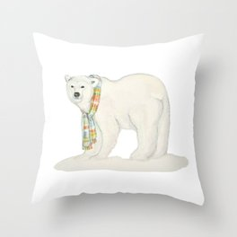 Chilly bear:Polar bear with a scarf Throw Pillow
