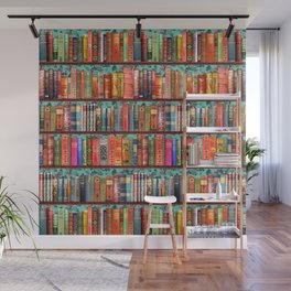 Vintage Books / Christmas bookshelf & holly wallpaper / holidays, holly, bookworm,  bibliophile Wall Mural