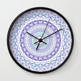 Pastel Purple and Green Mandala Wall Clock