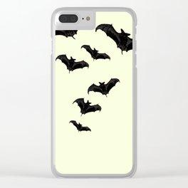 MYRIAD BLACK FLYING BATS DESIGN Clear iPhone Case