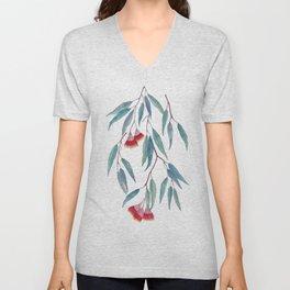 Eucalyptus leaves and flowers on light Unisex V-Neck