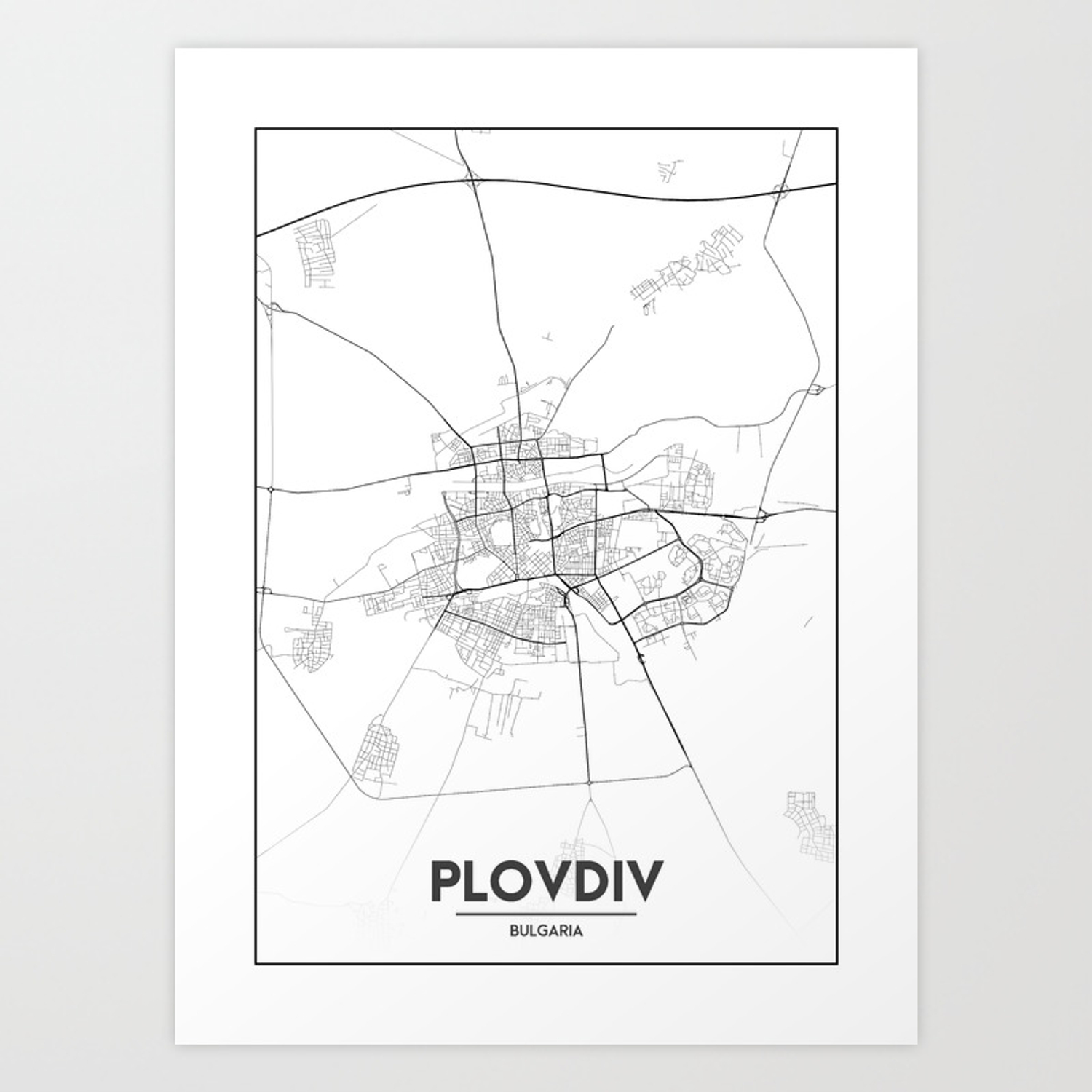 Minimal City Maps Map Of Plovdiv Bulgaria Art Print By