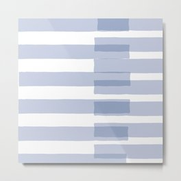 Big Stripes in Light Blue Metal Print