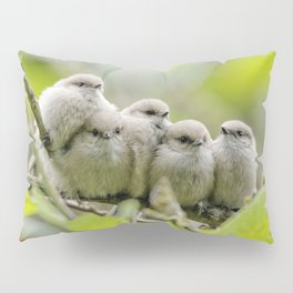 Heartwarming Family Portrait: Five Bushtit Brothers Pillow Sham