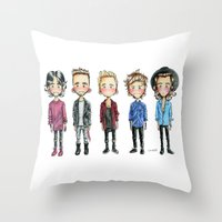 one direction Throw Pillows featuring One direction by levvelli