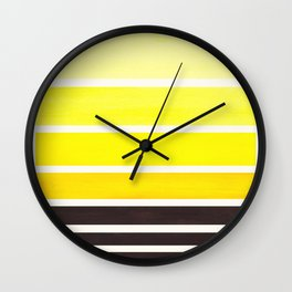Yellow Minimalist Watercolor Mid Century Staggered Stripes Rothko Color Block Geometric Art Wall Clock