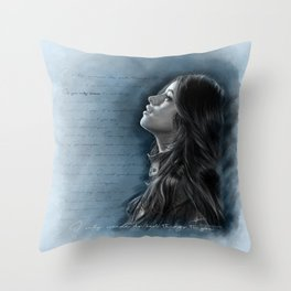 Camila Digital Painting with Bad Things Lyrics Throw Pillow