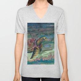 sea turtle watercolor Unisex V-Neck