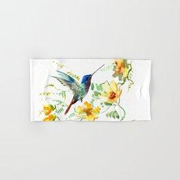 Hummingbird and Flowers, floral design Hawaiian tropical Hand & Bath Towel