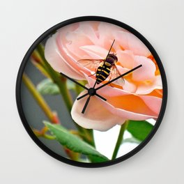 Close Up, Bee on Pink Flower Wall Clock
