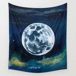 Full Moon Mixed Media Painting Wall Tapestry