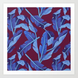 Tropical '17 - Blue Bird Of Paradise [Banana Leaves] Art Print