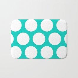 Large Polka Dots: Aqua Blue Bath Mat