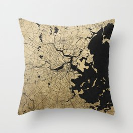 Boston Black and Gold Map Throw Pillow